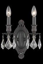 Elegant 9202W9DB/RC - 9202 Rosalia Collection Wall Sconce D:9in H:10.5in E:5.5in Lt:2 Dark Bronze Finish (Royal Cut Crysta