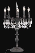 Elegant 9205TL18DB/RC - 9205 Rosalia Collection Table Lamp D18in H28in Lt:5 Dark Bronze Finish (Royal Cut Crystals)