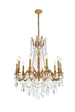 Elegant 9210D28FG/RC - 9210 Rosalia Collection Chandelier D:28in H:31in Lt:10 French Gold Finish (Royal Cut Crystals)
