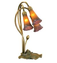 "Meyda Tiffany 13674 - 16""H Amber/Purple Pond Lily 3 Lt Accent Lamp"